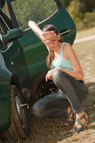 Car Breakdown and tire change Royalty Free Stock Photos