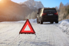 Car with a breakdown. In the winter Royalty Free Stock Photography