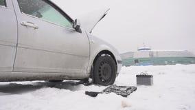 Car breakdown in winter, low-quality diesel fuel freezing and weak battery, problem start, slow motion, instrument. Car breakdown in winter, low-quality diesel stock video