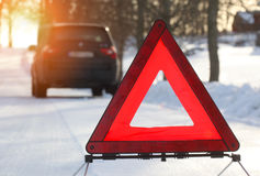 Car with a breakdown in the winter Royalty Free Stock Photos