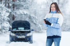 Car breakdown on winter road. Royalty Free Stock Image