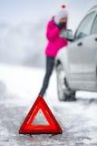 Car breakdown in winter seasone Stock Photos