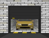 Car in a brick garage with sectional gates Royalty Free Stock Photos