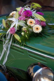 Car with bridal bouquet. Oldtimer with a bridal bouquet Royalty Free Stock Photo