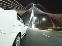 Car on bridge Royalty Free Stock Image