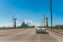 Car on bridge Stock Images