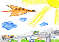 Car on the bridge and airplane. child drawing Stock Photos