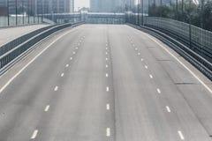 Car bridge in a city. Car bridge with multi-lane highway in a big city Stock Image