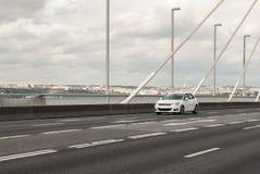 Car on a bridge Stock Photo