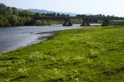 Car bridge over georgian river in Georgia Stock Image