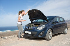 Car broke down on holiday Royalty Free Stock Image