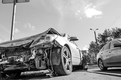 Car Broken in an accident. Monochrome image stock image