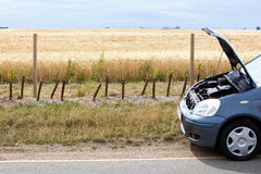 Car Broken Down in Countryside Royalty Free Stock Photography