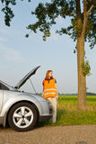 Car broken down on the road Royalty Free Stock Image