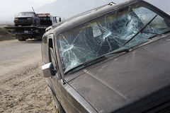 Car With Broken Windshield royalty free stock photo