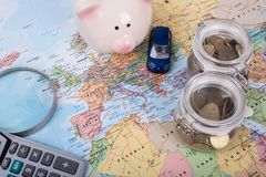 Car budget for travel. In Europe for your good experience Royalty Free Stock Photo