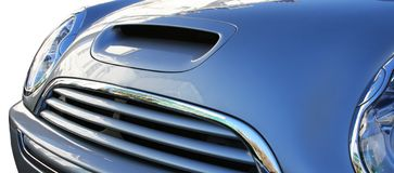 Car Bumper. Front of Mini Cooper with grill & lights stock photo