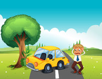 A car bumping the tree at the road Stock Image