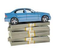 Car on bundle of money. On isolated white background Royalty Free Stock Photo