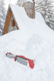Car buried in snow due to high snow blizzard Stock Image