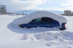 Car is buried under  thick layer of snow Stock Image