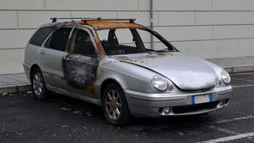 Car burned. Probably from vandal overnight Royalty Free Stock Image