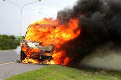 Car Burning with Fire royalty free stock photos