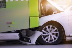 Car accident and a passenger bus. Car and bus accident, bumper to bumper. Car accident and a passenger bus royalty free stock photo