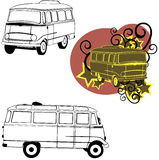 Car bus model. Vector drawn of a car bus in different composition vector illustration