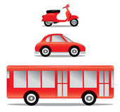 Vehicle illustrations. A set of illustrations including a toy car, toy motorcycle and a toy bus Stock Photography