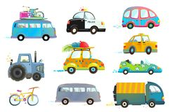 Car Bus Taxi Police Truck Bicycle Clipart Stock Photo