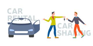 Car business sharing service concept, car rental illustration. Man gives car key to driver. Modern flat style design. Abstract urban background. Map pointer vector illustration