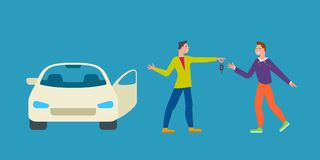 Car business sharing service concept, car rental illustration. Man gives car key to driver. Modern flat style design. Abstract urban background. Map pointer royalty free illustration
