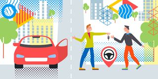 Car business sharing service concept, car rental illustration. Man gives car key to driver. Modern flat style design. Abstract urban background. Map pointer stock illustration