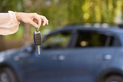 Car buy key. New rent automobile owner stock photography