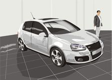 The car and the buyer. Motor show (vector stock illustration
