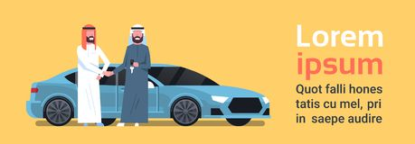 Car Buying Arab Seller Man Giving Keys To Owner Vechicle Purchase Sale Or Rental Center Concept. Flat Vector Illustration vector illustration