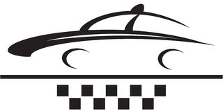 Car and cab symbol silhouette Royalty Free Stock Image