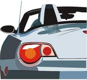 The car a cabriolet. The rear view of the modern car with open top Stock Photography