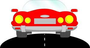Car cabriolet, red. Red car in road cadillac, clear glass Stock Photography