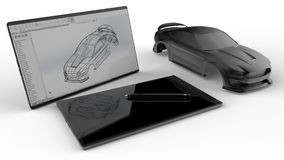 Car CAD design concept. 3D illustration of the concept of designing a car in a  CAD software. The composition is isolated on a white background with shadows Stock Image