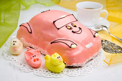 Car cake with a cup of coffee royalty free stock photo