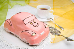 Car cake with a cup of coffee Royalty Free Stock Images