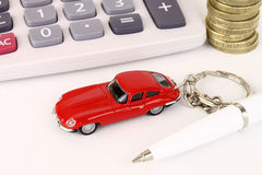 Car & Calculator. A general metaphor for car finance, sale and debt Stock Images