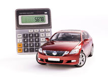 Car and calculator concept. 3d rendering. Car and calculator concept for buying, renting, fuel or service and repair costs Royalty Free Stock Images