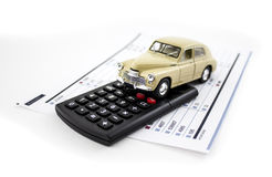 Car and calculator Stock Photography