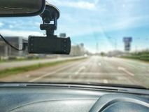 Car camera, car safety concept in the street royalty free stock image