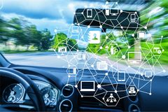 Car. Driverless autonomous futuristic infotainment ai artificial intelligence stock photo