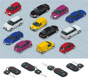 Car and Car keys icons. Car keys. Flat 3d isometric vector high quality city transport car icon set. Car, van, cargo Royalty Free Stock Image