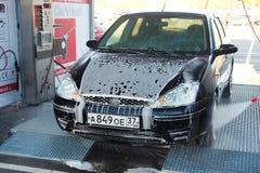 Car in a car wash near the Crocus Center Royalty Free Stock Photo